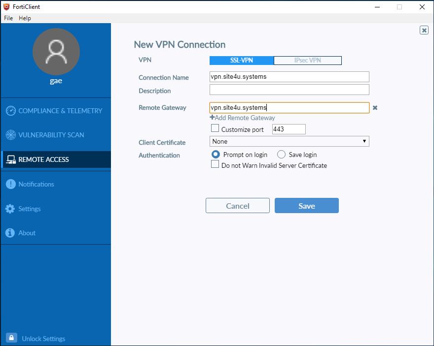 FortiClient VPN for Windows – Site4U